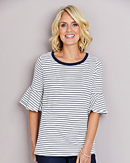 Stripe Jersey Top with Frill Sleeve