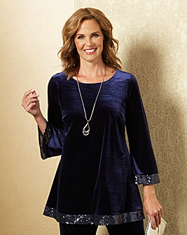 Velour Tunic with Sequin Trim