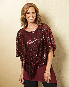 Sequin Cape Blouse