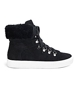 Shanice Faux Fur Trim Hi Top Wide Fit