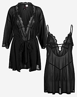 Stretch Mesh Chemise and Robe Set