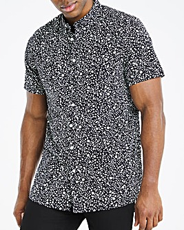 Black Mono Print Short Sleeve Shirt Long