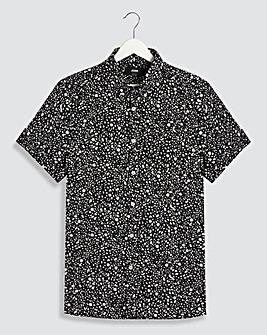 Black Mono Print Short Sleeve Shirt Long