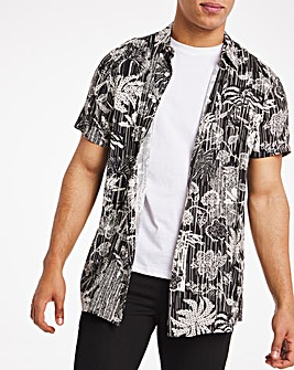 Black Palm Print Short Sleeve Viscose Shirt Long