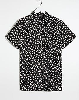 Animal Print Short Sleeve Viscose Shirt Long