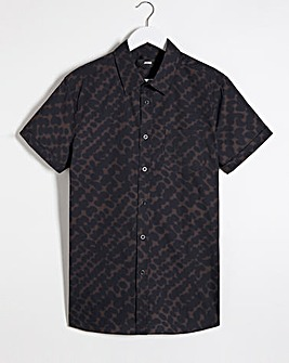 Blurred Print Short Sleeve Poplin Shirt Long
