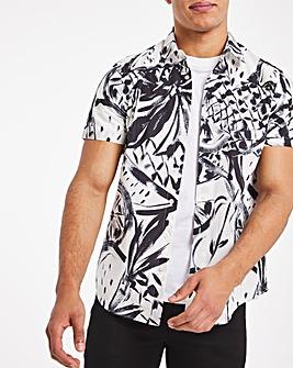 Navy Fruit Print Poplin Shirt Regular