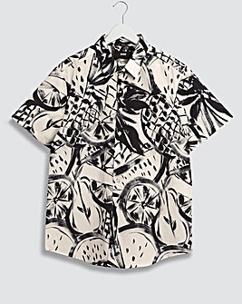 Navy Fruit Print Short Sleeve Poplin Shirt Long