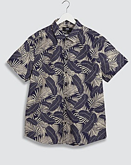 Navy Leaf Print Short Sleeve Poplin Shirt Reg