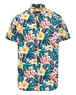 Tropical Floral Print Short Sleeve Poplin Shirt Long