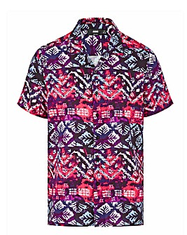 Pink Aztec Print Short Sleeve Viscose Shirt Long