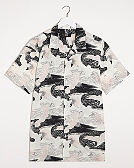 Crane Print Short Sleeve Viscose Shirt Long