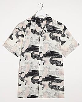 Crane Print Short Sleeve Viscose Shirt Long