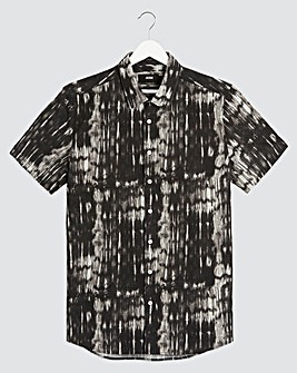 Black Abstract Print Shirt Long