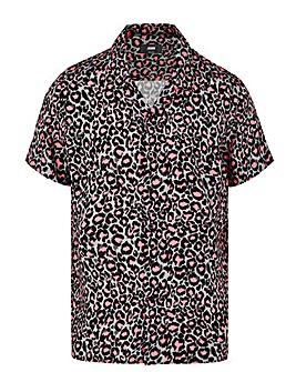 Leopard Print Short Sleeve Viscose Shirt Long