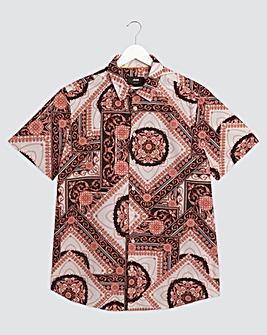 Pink Tile Print Short Sleeve Poplin Shirt Long