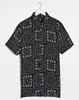 Black Bandana Print Short Sleeve Viscose Shirt Reg