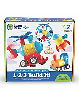 Learning Resources 1-2-3 Build It,Rocket,Train,Helicopter