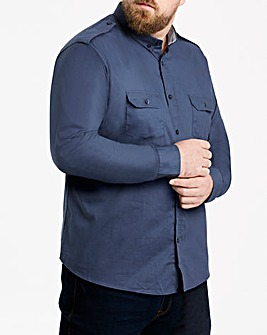 Jacamo Long Sleeve Navy Military Shirt Extra Long