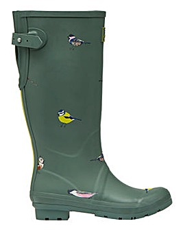 Joules Tall Green Birds Wellies Standard D Fit