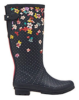 Joules Tall Navy Blossom Wellies Standard D Fit