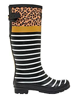 Joules Tall Tan Leopard Stripe Wellies Standard D Fit