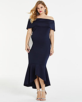 Simply Be By Night Fishtail Bardot Dress
