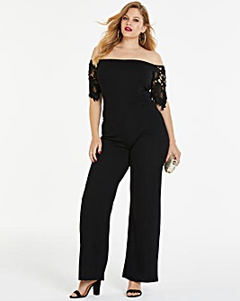 Simply Be By Night Lace Detail Jumpsuit