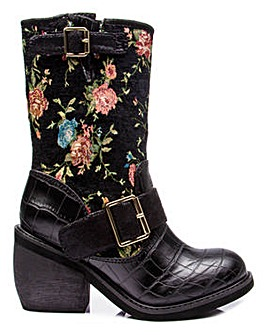 Irregular Choice Great Escape Chunky Mid Calf Boots Standard D Fit