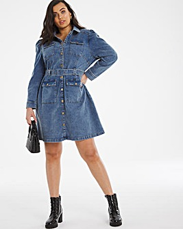 Stonewash Volume Sleeve Denim Mini Dress