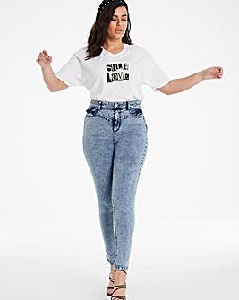 Stonewash Chloe Ruffle Trim Skinny Jeans