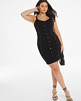 Black Studded Strappy 4 Way Stretch Denim Dress