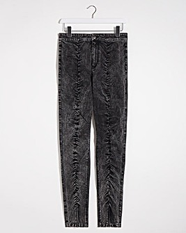 Black Acid Ruched Chloe High Waist Skinny Jeans