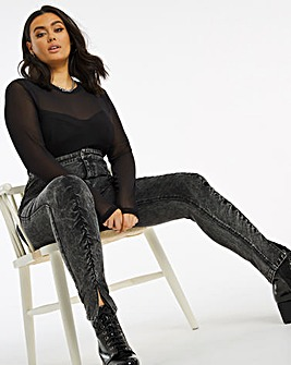 Chloe Black Acid Ruched High Waist Skinny Jeans
