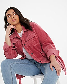Baked Pink Cord Belted Utility Jacket