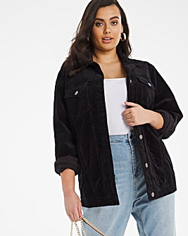 Black Cord Oversized Western Jacket
