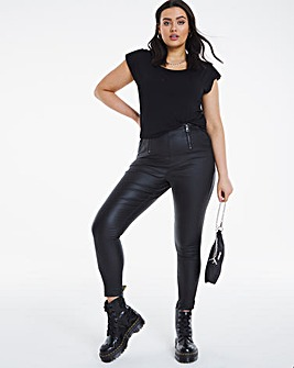 Black Coated Zip Detail High Waist Shaper Jeggings