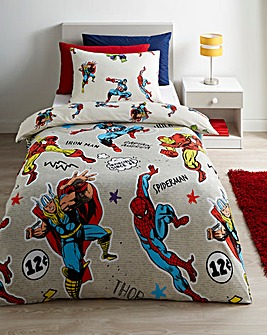 Marvel Comics Grey Reversible Single Duvet Set