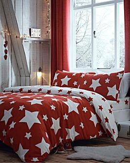 Bedlam Red Star Brushed Cotton Duvet Set