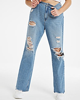 Stonewash Extreme Ripped Relaxed Dad Jeans
