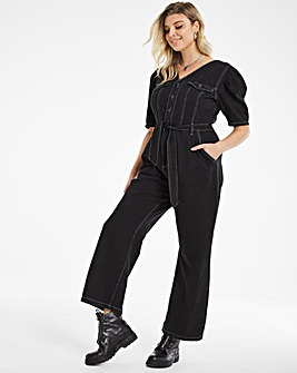 Washed Black Non Stretch Volume Sleeve Wide Leg Jumpsuit