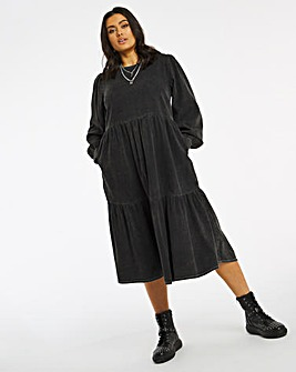 Washed Black Denim Midi Smock Dress