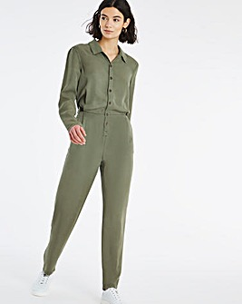 Washed Khaki Soft Lyocell Denim Relaxed Jumpsuit