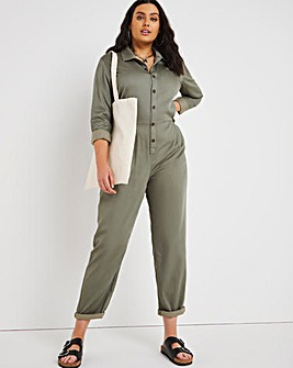 Washed Khaki Soft Tencel Relaxed Jumpsuit