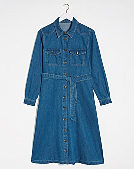 Vintage Blue A-Line Denim Shirt Dress