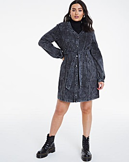 Black Acid Wash Denim Utility Dress