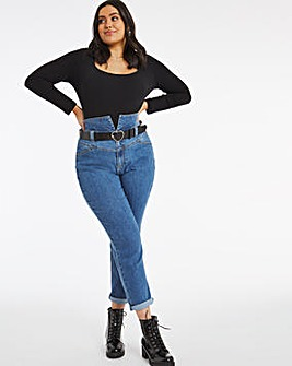 Vintage Blue Belted Mom Jeans