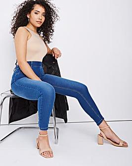 Amber Mid Blue Pull On Skinny Jeggings