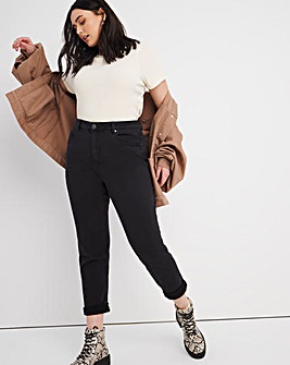 Demi Washed Black High Waist Mom Jeans