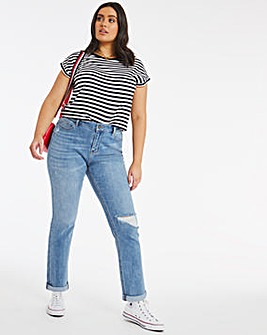 Fern Light Stonewash Slim Ripped Boyfriend Jeans